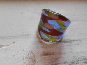 Ring Glas Rot Gelb Blau Gr. 17mm