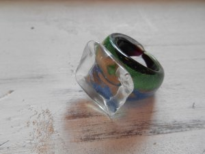 Ring Glasring Grün Blau Gr. 56 / 18mm