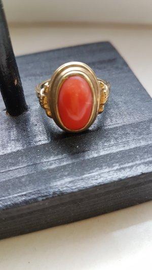 Ring gold mit Naturkoralle vintage