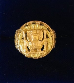 Ring, Goldring, 18 Karat, Inkamotiv, Inka, Perú