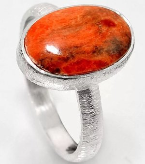 Silver Ring bright red-silver-colored