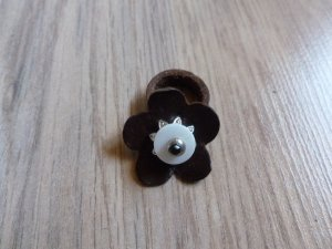 Ring Leder braun Blume Neu 17mm 54
