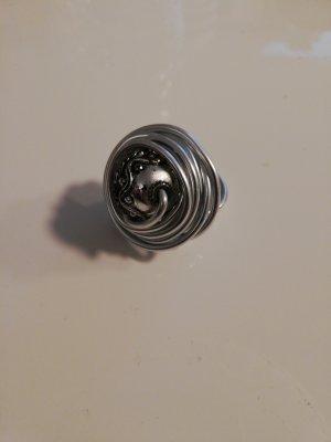 Ring metall, handgefertigt, Silber, Größe M
