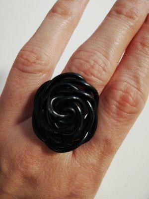 Ring metall, schwarz, Größe M, handgefertigt, rose