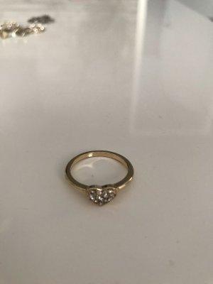 Ring mit Herzchen und Glitzer  Steinchen in Gold  Farbe