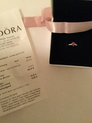Pandora Anillo de plata color plata-rojo frambuesa