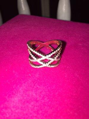 Ring Rosegold Rose Strass Kreuz Gr 8
