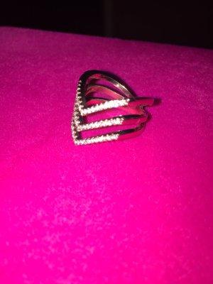 Ring Rosegold Rose Strass Ringe Reihen Gr 8
