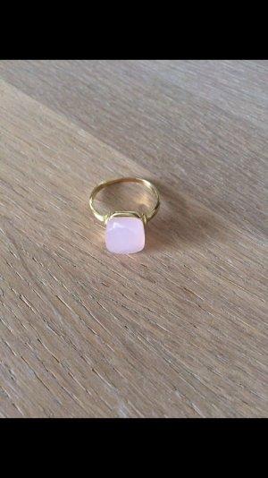 Ring Rosenquarz (925 Sterling Silber vergoldet)