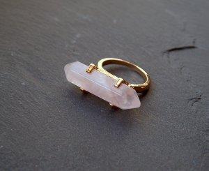 Ring Rosenquarz Hexagon Goldfarben