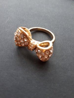 Ring Schleife gold mit Glitzersteinchen besetzt Modeschmuck