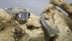 Ring Set Victoria Wieck Silber 14 Karat Weißgold Saphir Hochzeit Edel Schmuck
