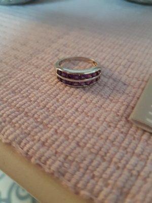 Ring, Silber 925 mit lila Steinen