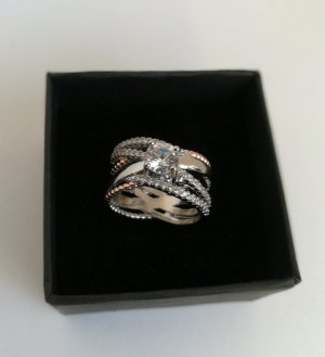 Ring silver-colored-rose-gold-coloured
