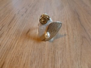 Ring silber gold Perle uni