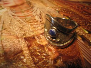 Silver Ring silver-colored-dark blue