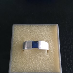Ring Silber mit blauem Stein Gr.58