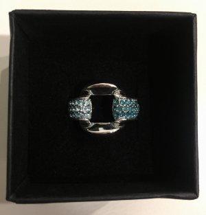 Ring Silber mit blauen Steinchen NEU