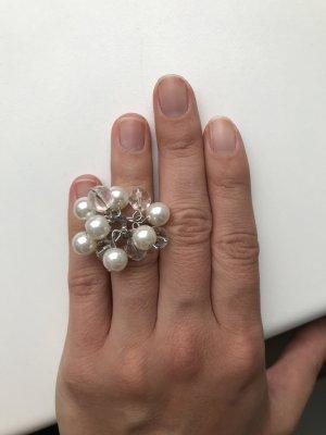 Ring silber mit weißen Perlen NEU