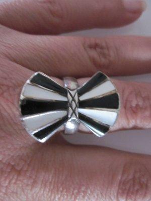Ring Silber schwarz & Weiss Mittelalter