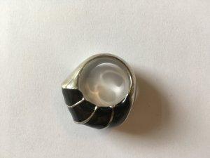 Ring, Silberfarben, Schwarzer Stein