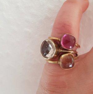 Ring Stackring Silber vergoldet pink