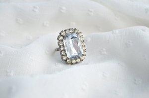 Ring Statement Modeschmuck Vintagelook Altsilber Strass Glitzer Prinzessin Diamant