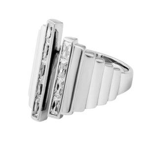 Ring Statement Silber asymetrisch Zirkonia
