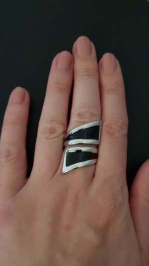 Statement ring zwart-zilver