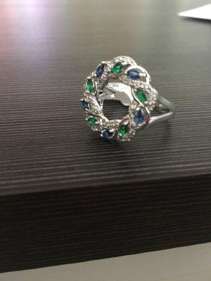 Ring Sterling Silber blau grün size 10