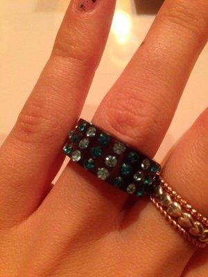 Ring Strass türkis blau Kunststoff