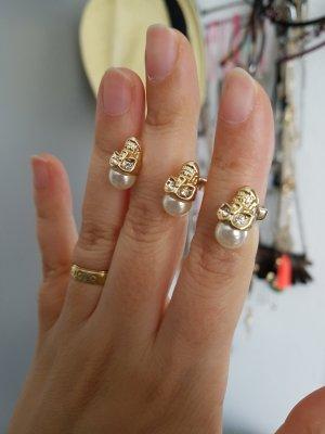 ring Totenkopf Perle gold
