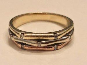 Ring Tricolor Trinity 585 Gold 7 Diamanten