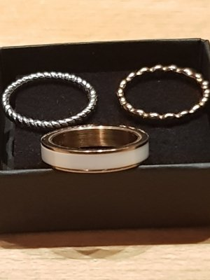 Ring-Trio rose, silber, weiss