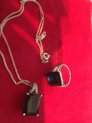 Ring und Anhänger von QVC mit Silberkette - alles 925 gestempelt saphirblau