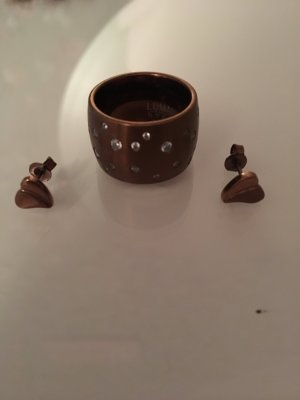 Ring und Ohrringe Lumani braun