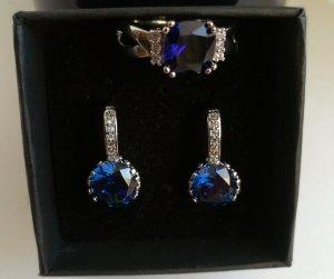 Ring und Ohrringe Set. Silber 925. Zirkonia weiß und blau.Neu