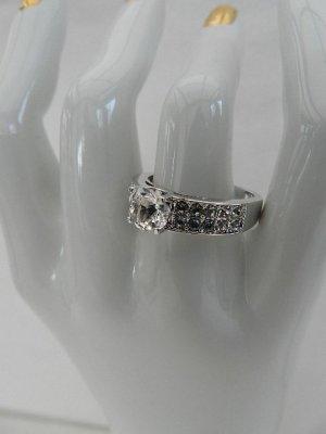 Ring veredelt mit 21 Kistallen von Swarovski® -Gr.56 (17,8) - Farbe Silber - Neu