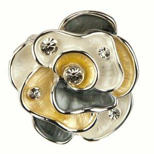 Ring verstellbar Damenring Stretchring silber Blume Blüte mehrfarbig groß modern