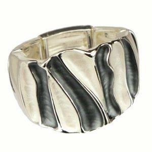Ring verstellbar Damenring Stretchring silber schwarz weiß groß breit modern