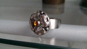 Bague incrustée de pierres argenté-orange doré bronze