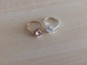 Ringe mit Steinchen in Silber und Roségold