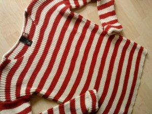 Best Connections Kraagloze sweater rood-wolwit Katoen