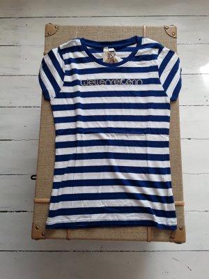 Gestreept shirt blauw-wit Katoen