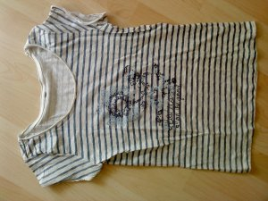 Gestreept shirt staalblauw-lichtgrijs Katoen
