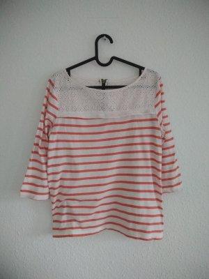 H&M Gestreept shirt wit-donker oranje