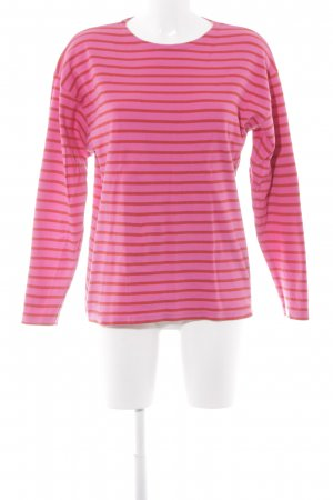 Gestreept shirt neonrood-donkerrood gestreept patroon casual uitstraling