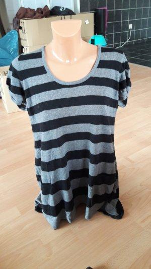 Ringelshirt T-Shirt mit Streifen schwarz grau 40 L