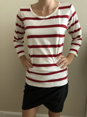 Gestreept shirt room-donkerrood
