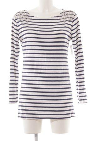 Camisa de rayas blanco-azul oscuro estampado a rayas look casual